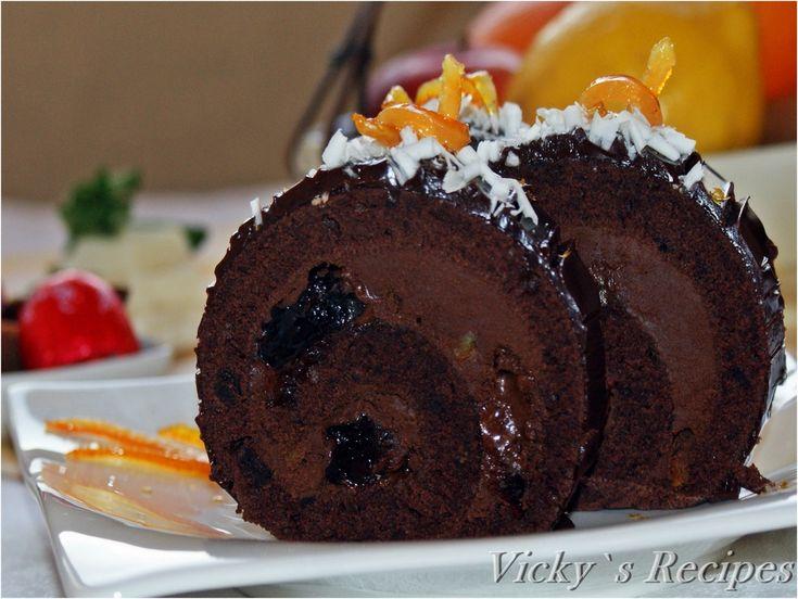 Reteta Rulada cu ciocolata si visine din dulceata din categoriile Dulciuri diverse, Prajituri. Cu specific romanesc.