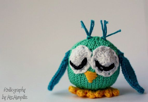 Toy Owl, handmade from eco friendly cotton yarn, turquoise, blue by KnitographyByMumpitz, kr120.00