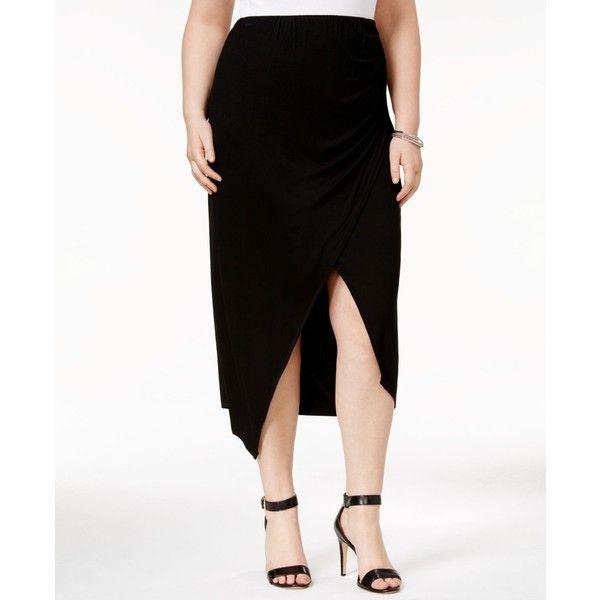 Whitespace Trendy Plus Asymmetrical Midi Skirt ($42) ❤ liked on Polyvore featuring plus size women's fashion, plus size clothing, plus size skirts, black, mid calf skirts, going out skirts, plus size midi skirt and womens plus size skirts