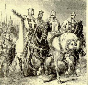 15 juillet 1099 - Fin de la Première croisade, se soldant par la prise de Jérusalem. (Image: Godefroy de Bouillon et les chefs de la Première Croisade.) (Wikinews - Wikipedia)