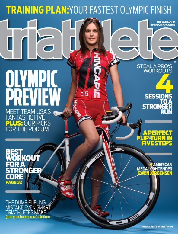 Gwen Jorgensen, Olympic triathlete from Wisco, on the cover of Triathlete magazine.