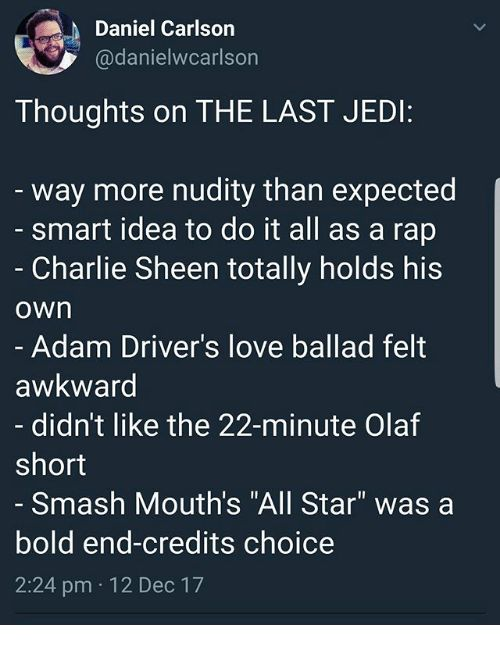 This wouldnt be a Star Wars movie maybe a Family Guy or South Park episode though