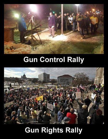 Gun control rally vs. Gun RIGHTS rally- and THAT'S why the gun control law flopped.  thank goodness!