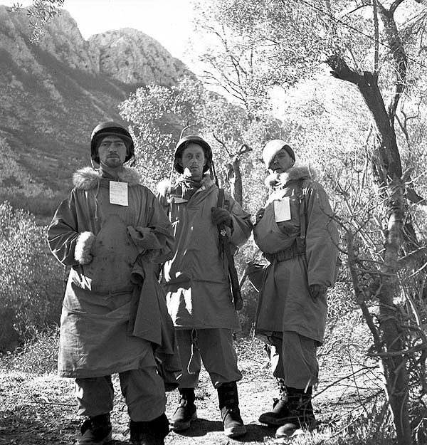Canadian personnel of the First Special Service Force awaiting medical evacuation, near Venafro, Italy, January 1944.