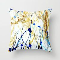 Outback Flowers Blue And… Throw Pillow