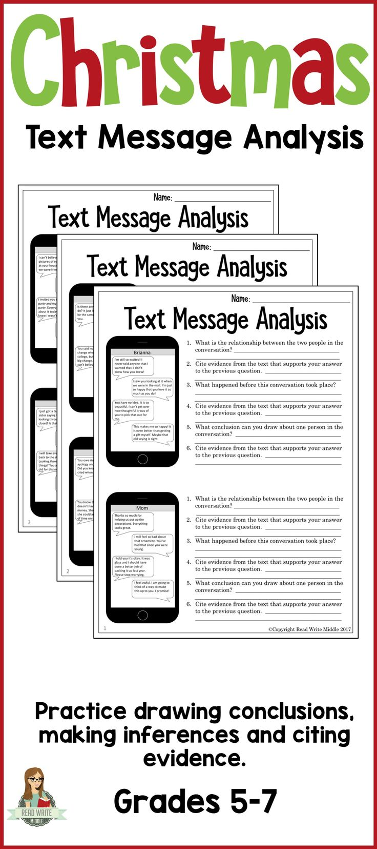 A perfect Christmas themed activity for students to practice making inferences and drawing conclusions. Students will love reading these text message conversations and citing evidence to support their inferences.