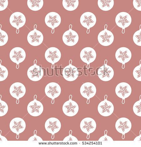 Metal Christmas-tree balls background. Material bronze copper or pink gold. Seamless pattern abstract. Hand drawing of a snowflake. Vector illustration.