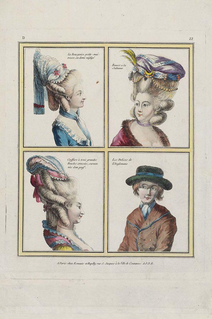 La Bourgeoise petite-maitresse, en demi négligé, Bonnet a la Sultanne, Coeffure à trois grandes Boucles croisées, surmontées d'un pouf, Les Delices de L'Anglomane
