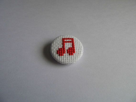 Bright Red Music Note Cross Stitch Pin by StreetStitchAndStuff