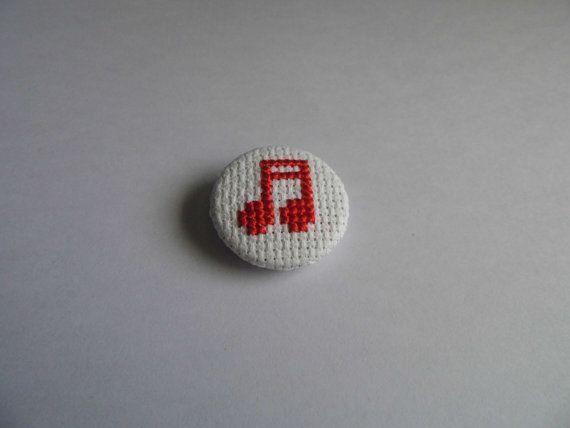 Bright Red Music Note Cross Stitch Pin by StreetStitchAndStuff