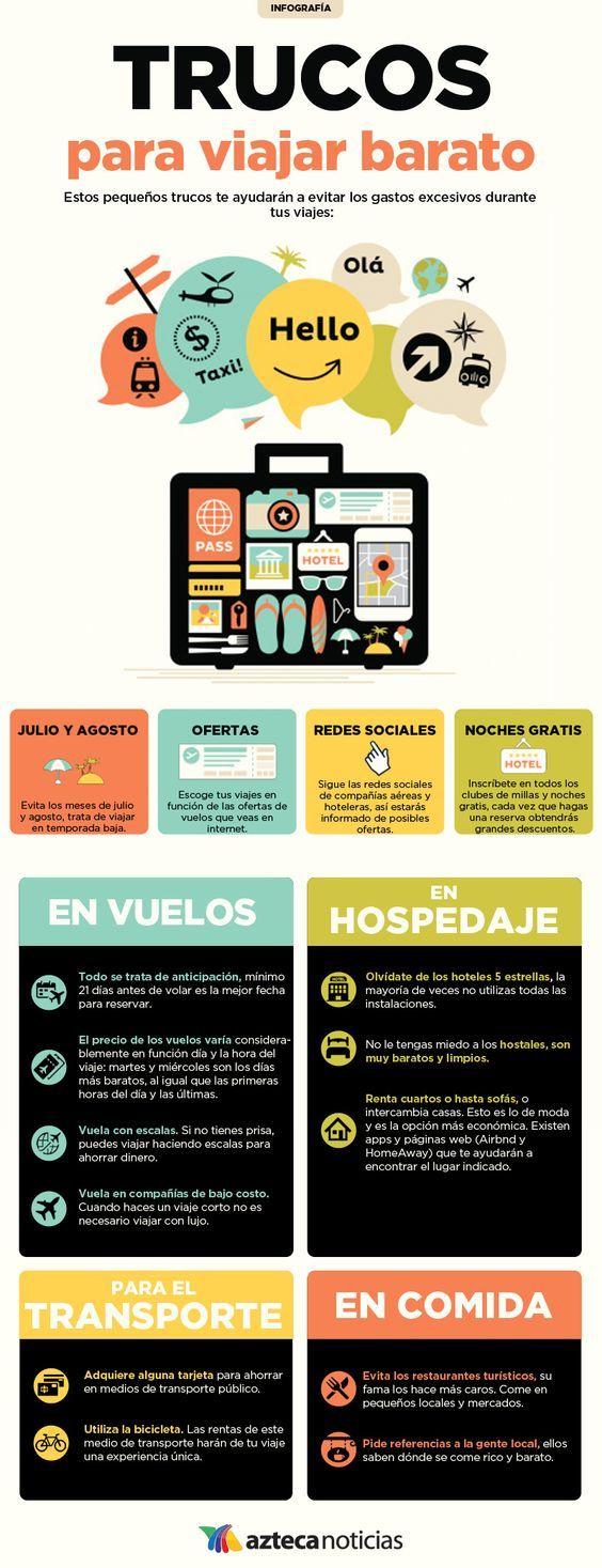 #Infografía con trucos para #viajar barato - #viajes