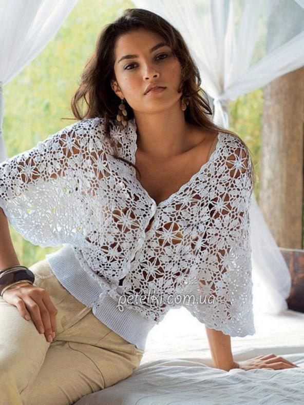 Openwork crochet blouse-razletayka. Scheme, pattern