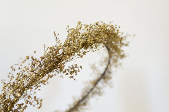 Gold Star Dust Halo Crown Natural Dried Babys Breath with Glitter Hair Wreath Whimsical Woodland Bride. $20.00, via Etsy.