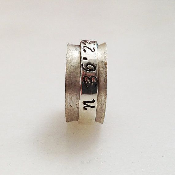 Spinner Personalized Ring, Sterling Silver Wide Band Latitude Longitude Coordinates, Made to Order Custom Ring, Personalized Unisex Jewelry