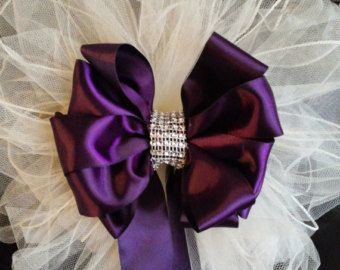 Wedding Bows Any Color Satin And Tulle Bows With by AsPrettyDoes