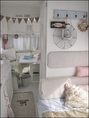 Love the interior of this vintage trailer