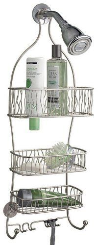 InterDesign Squiggle Shower Caddy, Satin Nickel by InterDesign. $28.97. Attractive satin nickel finish. Triple-shelf shower caddy. Includes hooks for razors and scrubbers. Ample room for shower accessories. Hanging/suction mounting. This shower caddy features ample room to store and organize your shower accessories. Three shelves offer storage for many items, and integrated hooks and razor slots add usability. Mounting is as simple as hanging over the shower noz...