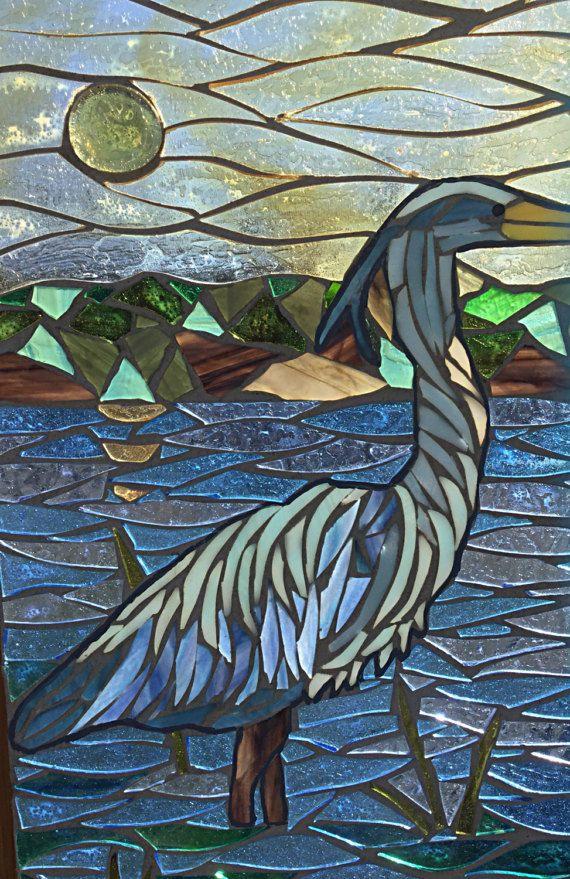 Garza Azul manchado cristal mosaico  garza azul al atardecer