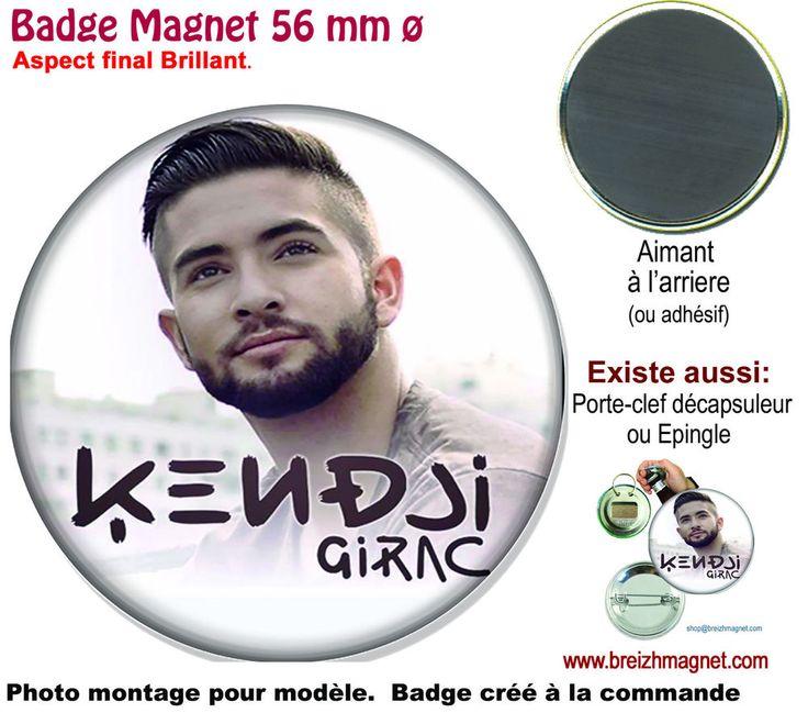 BADGE 56 mm diam. KENDJI, THE VOICE. MAGNET, PORTE-CLEFS DÉCAPSULEUR, ÉPINGLE