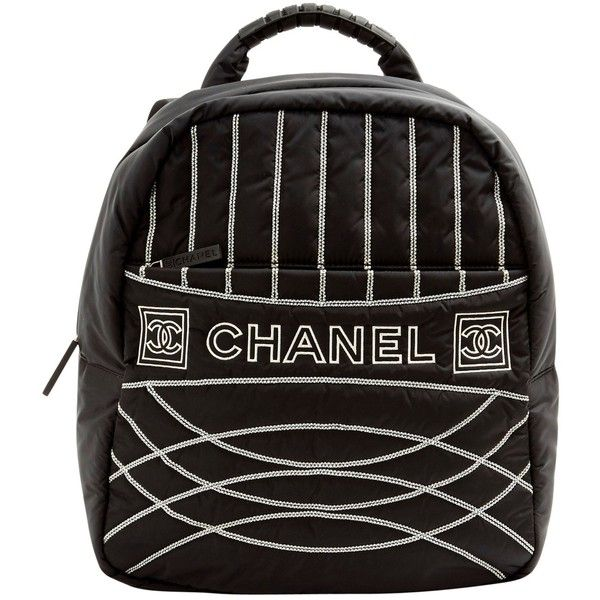 Pre-owned Chanel Cloth Backpack (2 196 265 LBP) ❤ liked on Polyvore featuring bags, backpacks, black, women bags backpacks, day pack backpack, chanel backpack, pre owned bags, chanel bags and rucksack bags