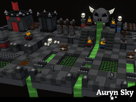 Mobile Low Poly Battle Arena / Tower Defense Dungeon Pack