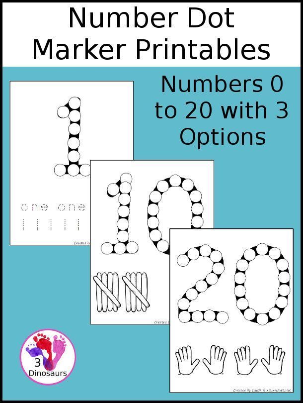 Free Number Dot Marker Pages 0 to 20   Numbers preschool ...