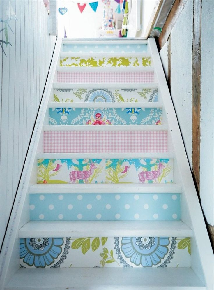 Wallpapered Staircase in some adorable Amy Butler patterns