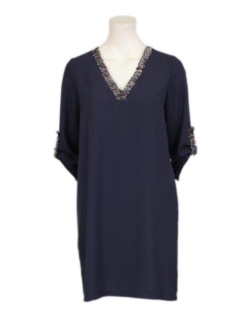 blauwe jurk in voile - Korte jurken - BoBo Tremelo