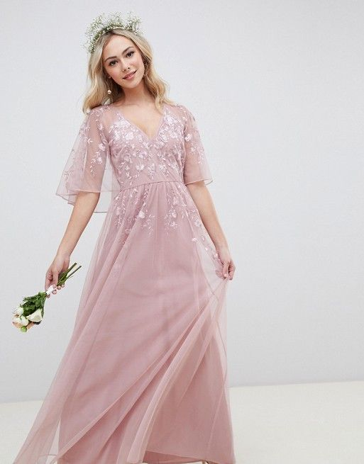 2decc1099c5 DESIGN maxi dress with cape sleeve in embroidered mesh in 2018 ...