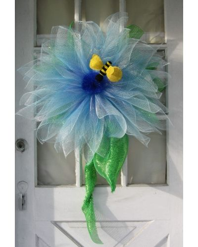 Blue Deco Mesh Flower With Bee | CraftOutlet.com Photo Contest -