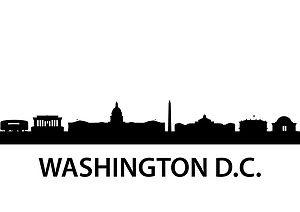 Race Track Wall Art >> Washington DC Skyline Silhouette Vinyl Wall Art Sticker Outline Souvenir Present   babe in ...