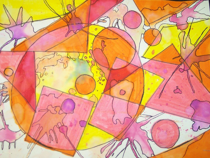 5th Grade students reviewed geometric vs. organic shapes with this great project!!