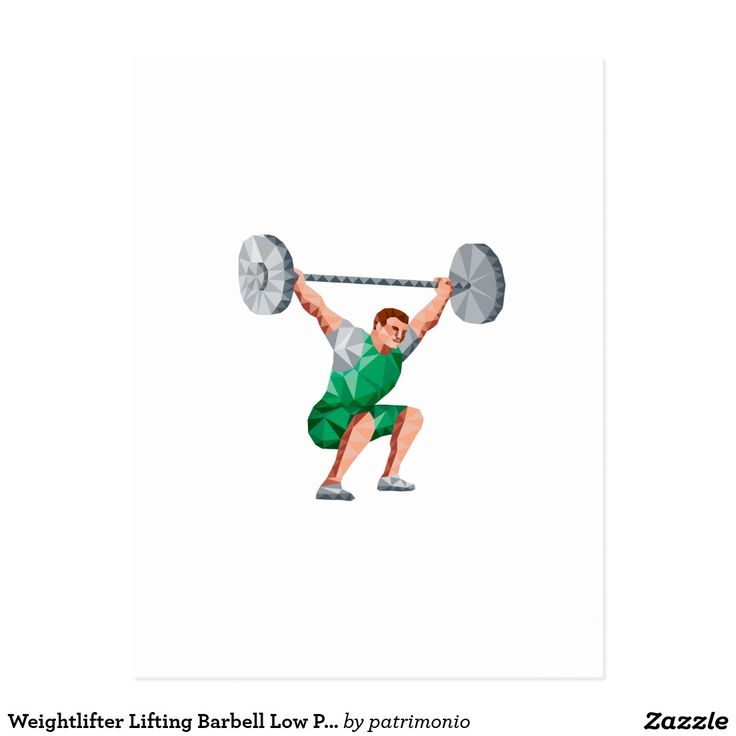 Weightlifter Lifting Barbell Low Polygon Postcard. Low Polygon style illustration of a weightlifter lifting barbell facing side set on isolated white background. #weightlifting #olympics #sports #summergames #rio2016 #olympics2016