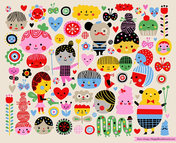 flora chang: Design Inspiration, Happy Face, Happy Doodles, Illustration, Doodles Land, Flora Change, Elementary Art, Drawing, Development Inspiration