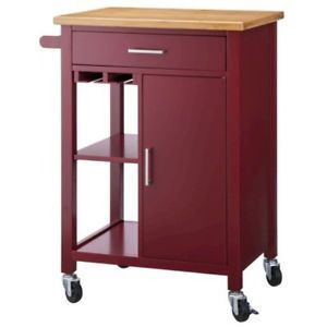 Kitchen Microwave Storage Rolling Cart On Wheels W Shelves Cabinet