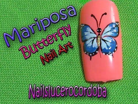 Decoracion de uñas mariposa - Butterfly Nail Art - Como Pintar una Marip...