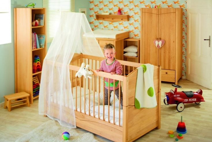 Babybett Kinderbett 70x140 cm Massivholz Erle Luca