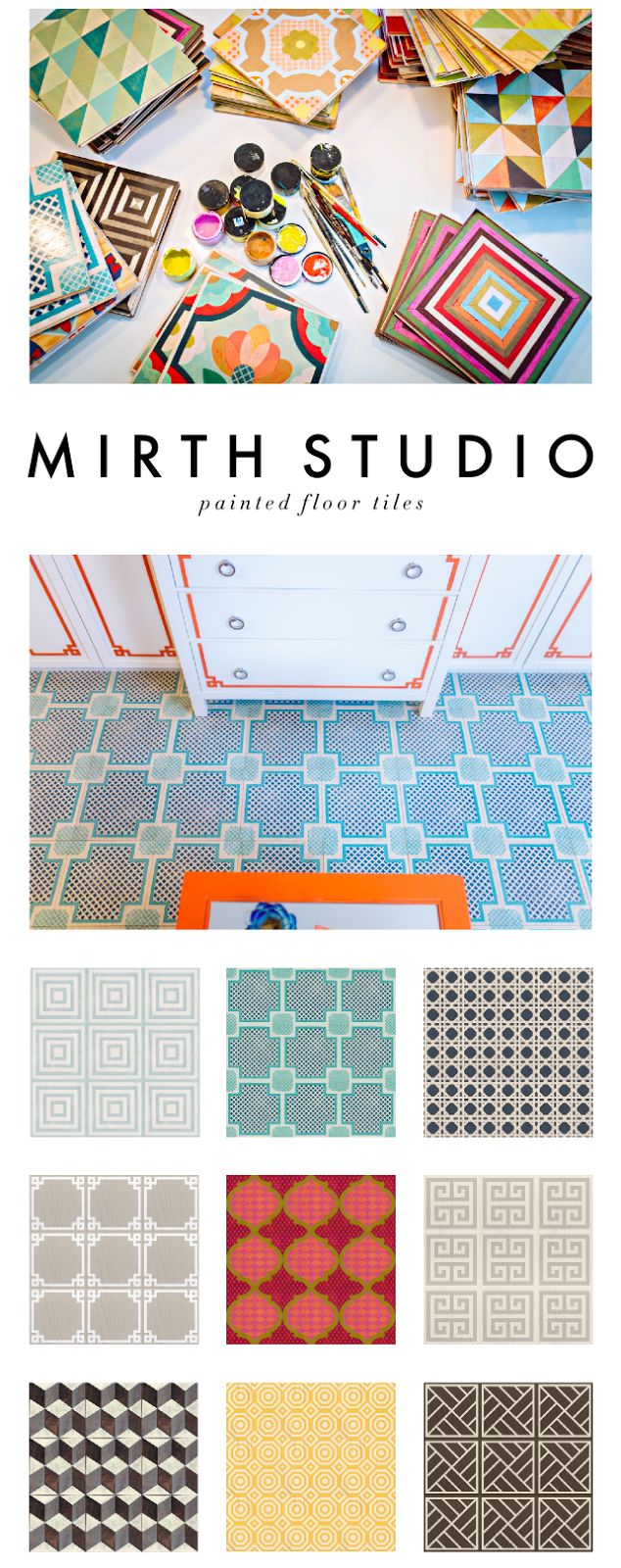 Kelly Market: PAINTED FLOOR TILES BY MIRTH STUDIO