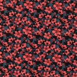Stretchjersey blå med blomma