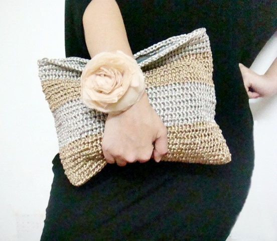 Silver Gold Crochet Clutch Bag - good inspiration