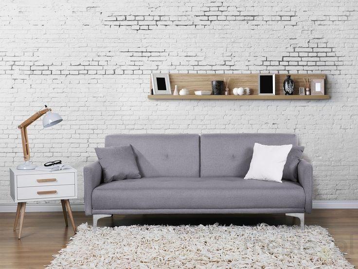 Sofa z funkcją spania szara - kanapa rozkładana - wersalka - LUCAN, Beliani - Meble