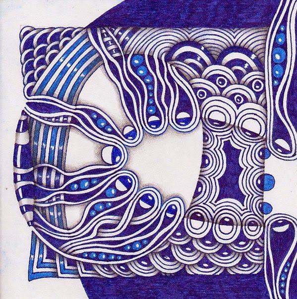 Touching the World Creativity ...: Zentangle.  Materials: gel pen, pencil.