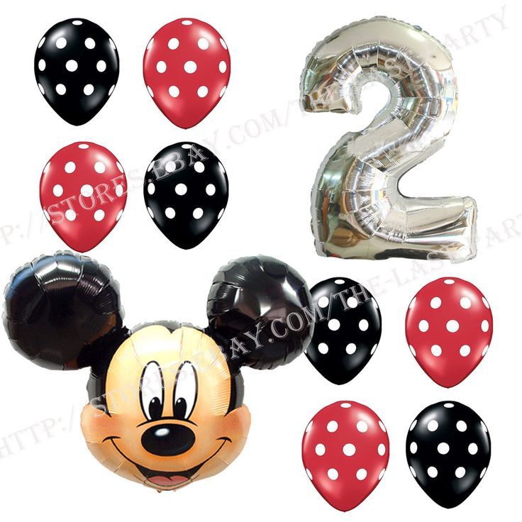 2nd Birthday Party Supplies Mickey Mouse Second Foil Balloons Polka dots Anagram #Anagram #BirthdayChild