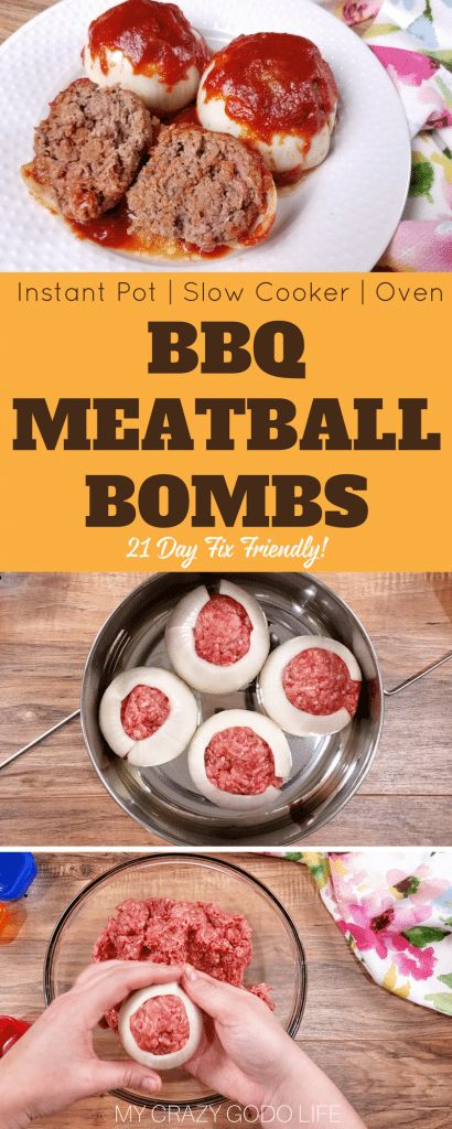 Mini BBQ Meatloaf Bombs are a delicious and healthy dinner that is family friendly! For those of you who don't want to make one big meatloaf, I love making this 21 Day Fix mini meatloaf dinner!Mini Onion Bombs   Crockpot Mini Meatloaf   Instant Pot Mini Meatloaf   21 Day Fix dinner recipe   Instant Pot BBQ #instantpot #21dayfix #bbq