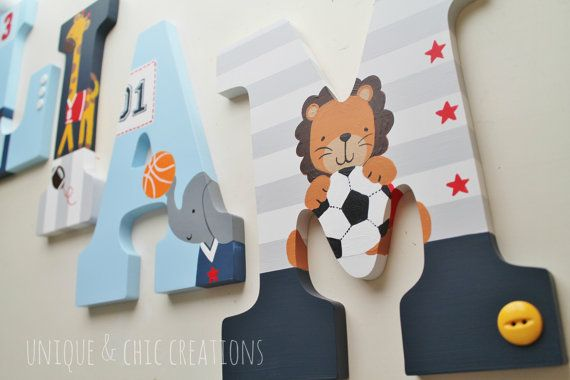 Lambs and Ivy Peek All Star Themed Wooden Letters by KraftinMommy