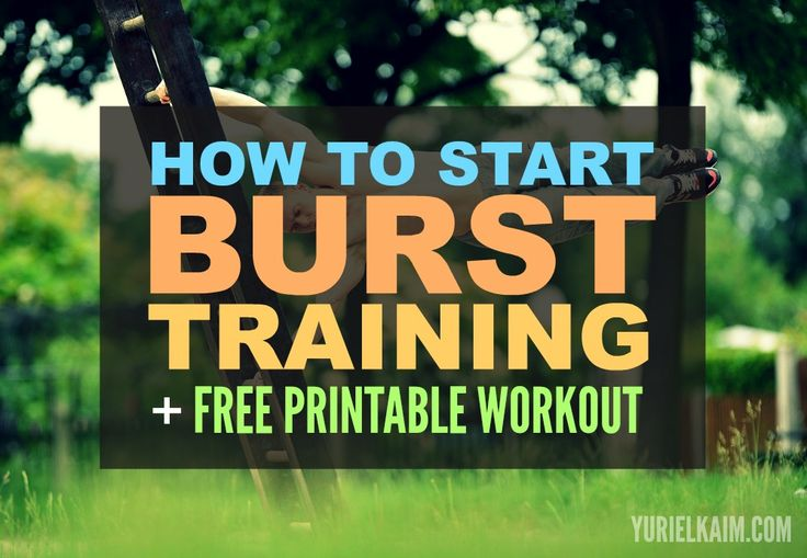 Starter guide for burst training, interval training, and HIIT workouts. Includes a FREE printable, follow-along workout.