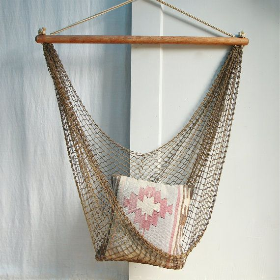 Vintage Hammock Chair / Fishnet Egg Chair Sling by ethanollie