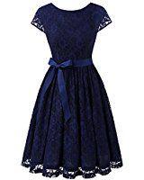 IVNIS RS90033 Women's Vintage Lace V Back Bridesmaid Party Dress Short Prom Dress Cap Sleeve Navy S