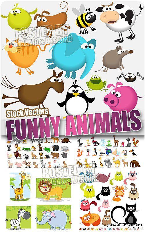 Веселые животные - Векторный клипарт