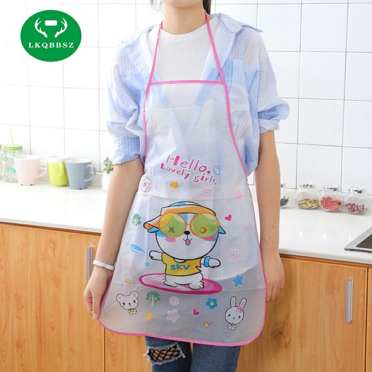 LKQBBSZ Cute Aprons PE Kitchen wear Oil Prevention Apron  Cartoon Oil-proof Bust Sleeveless Kit Bib Waterproof Aprons